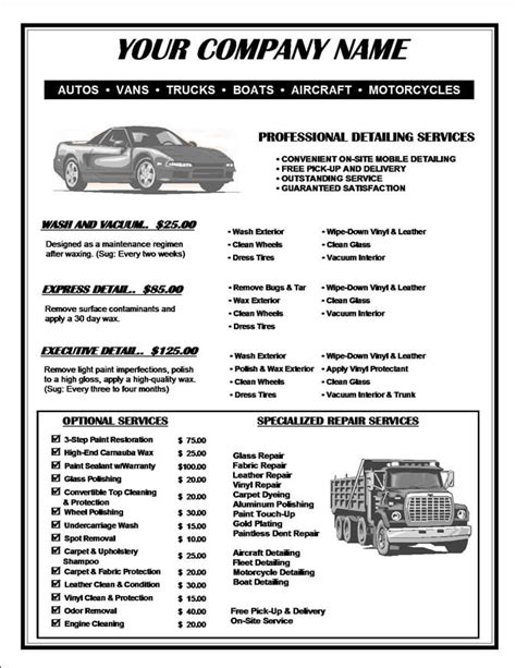 car detailing price list template car detailing price list template tolae 2268 45364644 templates collections