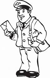 Postman Clipart Illustration Royalty sketch template