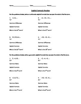 arithmetic and geometric explicit formula practice worksheet tpt