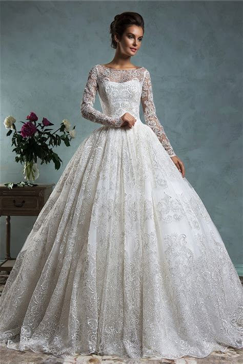 Classy Ball Gown Bateau Neck Long Sleeve Vintage Lace