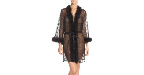 Betsey Johnson Feather Accent Sheer Short Robe In Black