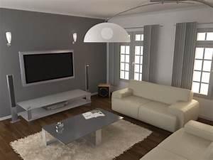 Peinture Moderne Salon : peinture grise murs salon accueil design et mobilier ~ Teatrodelosmanantiales.com Idées de Décoration