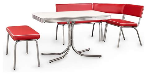 corner dining table with chairs coaster fine furniture retro chrome corner nook dining set