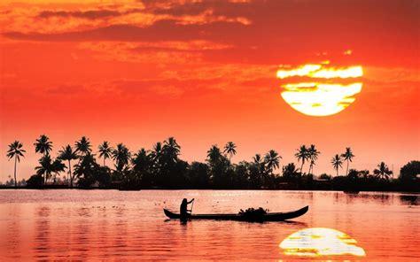 kochi kerala india red sky sunset reflection landscape
