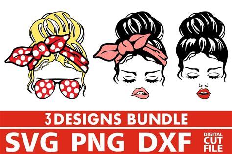 Messy bun with golden glitter hair bow and aviator glasses. 3x Messy Bun Designs Bundle svg, Glasses svg, Polka Dot ...