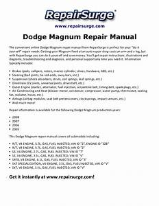 Dodge Magnum Repair Manual 2005