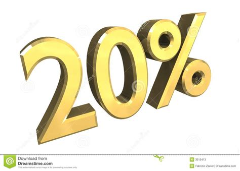 20 Percent In Gold (3d) Stock Illustration. Illustration