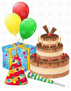 Birthday Cake Gift Balloons And Hat Vector Image 21018