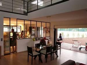 communication visuelle entre sejour et cuisine idees With verriere entre cuisine et salle À manger pour deco cuisine