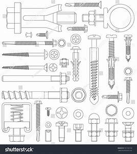 Outline Diagram Various Fixings Including Screws Stock
