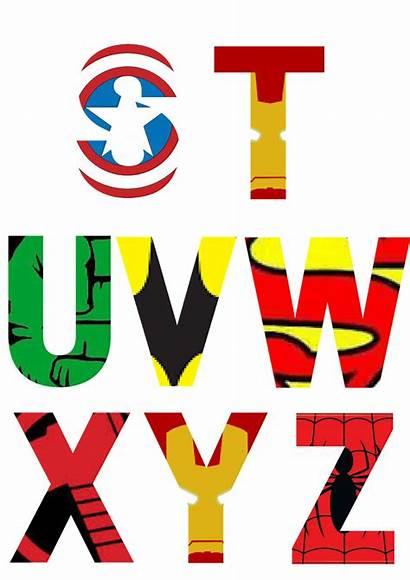 Superhero Alphabet Letters Printable Party Avengers Birthday