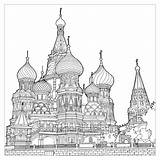 Coloring Cathedral Architecture Moscow Structures Pages Multiple Splendid Adult Vasily Fantastic Extraordinary Colors Bless sketch template