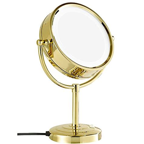 gold lighted makeup mirror gurun 8 5 inch tabletop double sided led lighted make up