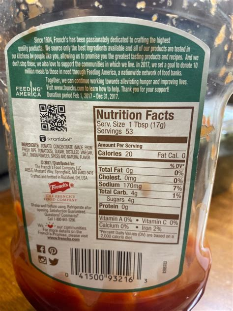 French's Tomato Ketchup: Calories, Nutrition Analysis ...