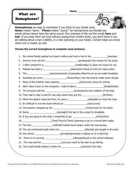 what are homophones homophone worksheet