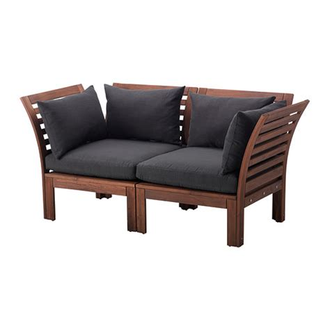 äpplarö hållö loveseat outdoor brown stained black ikea