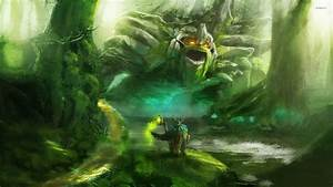 Wizard facing the monster in the forest wallpaper ...