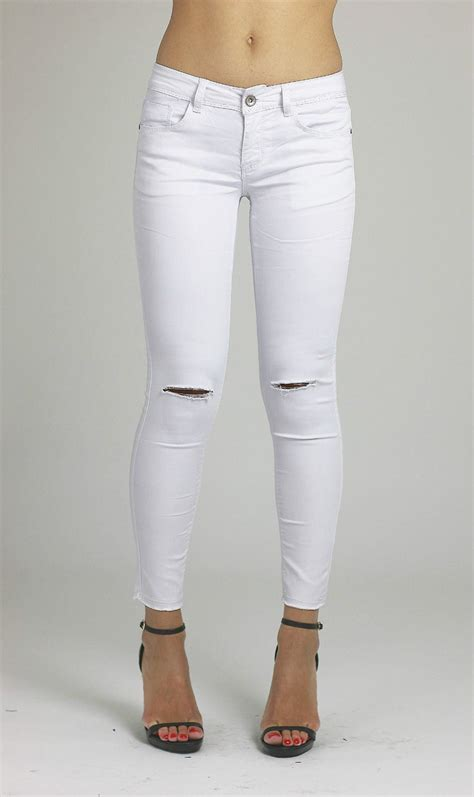 White Jeans Ripped  Bbg Clothing