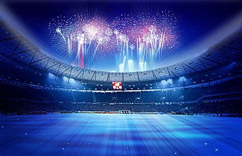 blue stadium posters football field fireworks