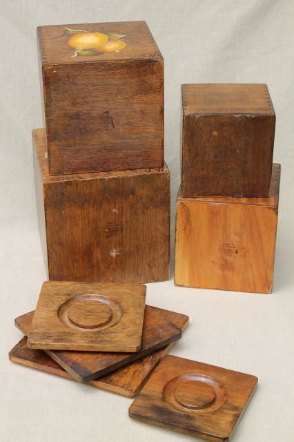 wooden kitchen canister sets retro country kitchen wood box canisters w painted