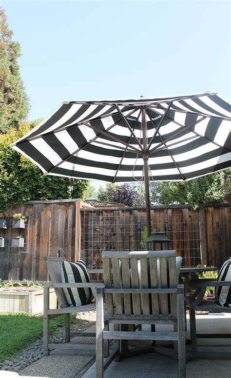 Black And White Striped Patio Umbrella by Copy Cat Chic Stripes In The Backyard