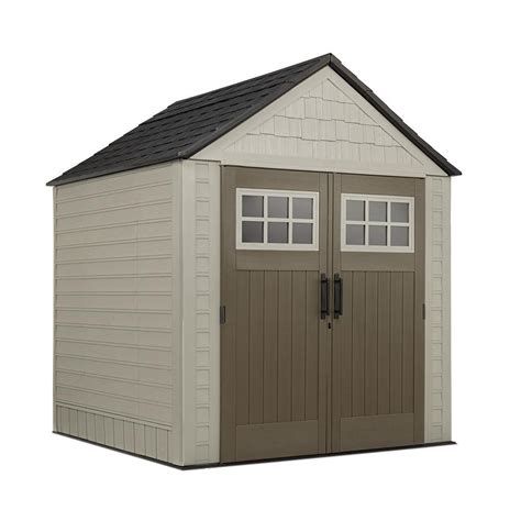 rubbermaid outdoor storage shed accessories rubbermaid big max 7 ft x 7 ft storage shed browns tans