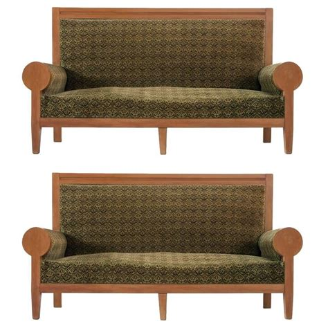 green fabric sofas for sale pair of italian high back sofa 39 s in green fabric