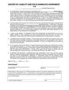 Blank Liability Release Waiver Form