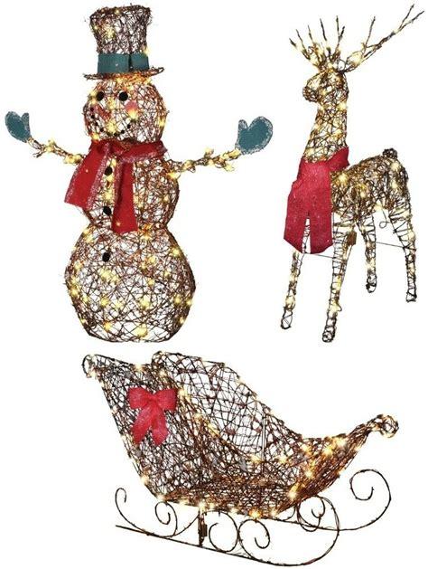 outdoor yard decorations lighted grapevine starry snowman sleigh deer ebay