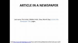 How To Cite An Article In A Newspaper In APA Format YouTube To Cite An Article Retrieved From An Electronic Source In APA Format APA SPI 101 Spring 2015 LION At Albright College The PastPages Web Log PastPages Now Provides Automatic Citations
