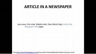 Apa Reference Page Example Journal Article How To Cite An Article In A Newspaper In APA Format YouTube