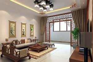 Chinese Living Room Design With Retro Wood Sofa - Decobizz com