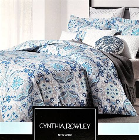 Cynthia Rowley Bedding At Marshalls by Cynthia Rowley 3pc Cotton Duvet Cover Set Gray Blue Floral