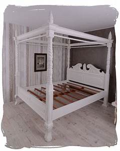 Doppelbett Weiß Holz : himmelbett holz doppelbett vintage bett weiss ehebett landhausstil betthimmel ebay ~ Frokenaadalensverden.com Haus und Dekorationen