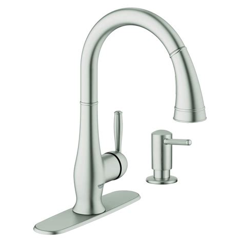 shop grohe wexford supersteel infinity 1 handle pull kitchen faucet at lowes