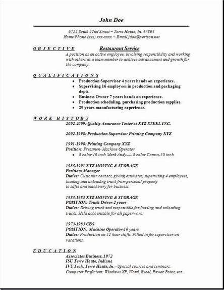 Resume Objective For Restaurant by Restaurant Service Resume Occupational Exles Sles