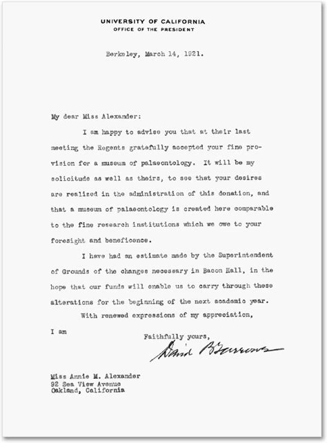 Letter to Annie Alexander of March 14, 1921