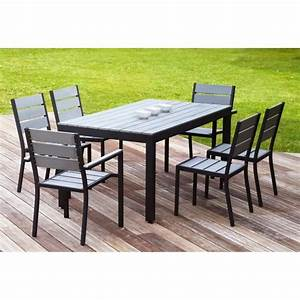 Ensemble Table De Jardin : floride ensemble table de jardin 160 cm 2 fauteuils 4 chaises aluminium et polywood gris ~ Teatrodelosmanantiales.com Idées de Décoration