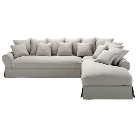 canapé angle gris clair canapé d 39 angle droit 6 places en coton gris clair bastide