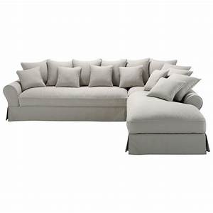 canape d39angle droit 6 places en coton gris clair bastide With canape 6 places droit