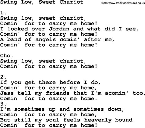 Swing Words by Swing Low Sweet Chariot Apostolic And Pentecostal Hymns