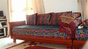 Banquette Salon Marocain : salon marocain banquettes ameublement maison limay ~ Teatrodelosmanantiales.com Idées de Décoration