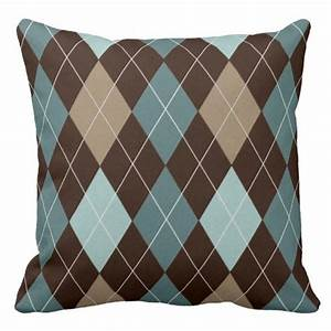 modern brown and blue argyle throw pillow cushion zazzle With blue and brown accent pillows