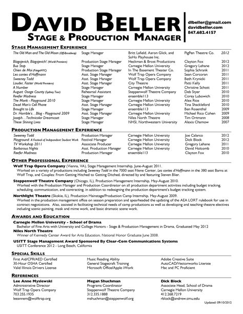 stage manager resume printable planner template