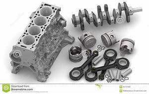Engine Parts Lie On A White Surface Stock Illustration