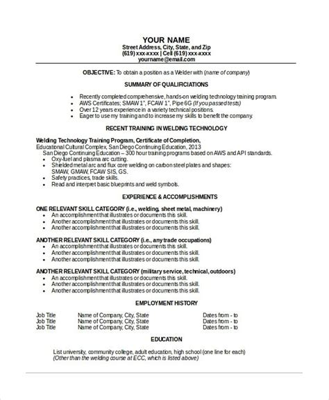 welder resume template resume sle
