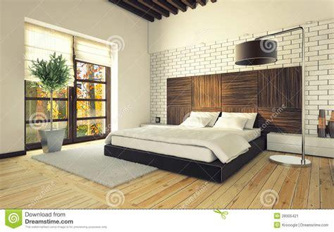 chambre avec mur en chambre à coucher avec le mur de briques illustration