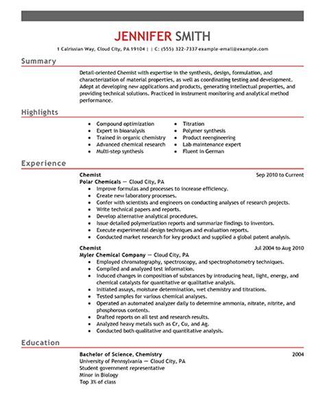 Chemist Resume by Best Chemist Resume Exle Livecareer