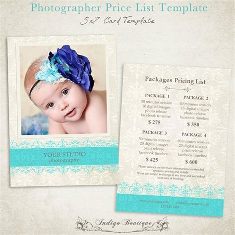 free pricing template for photographers items similar to photographer price list photography package pricing price guide photography
