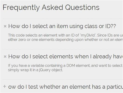 Creating Accordion Style Faq System With Jquery